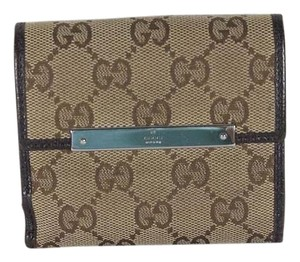 Gucci Gucci Flap French Coin Fabric Gg and Bronw Leather Trifold Wallet