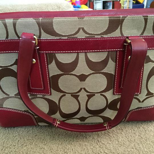 Coach Tote in Brown, Red