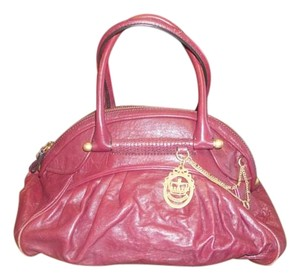 Juicy Couture Daily Carry Leather Tote in Purple / Burgandy