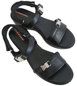 Prada Leather Velcro Wedge Chunky Black with silver buckles Platforms