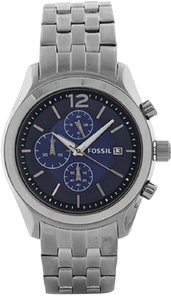 Fossil Fossil BQ1482 Men's Editor Gunmetal Gray Blue Dial Chronograph Watch