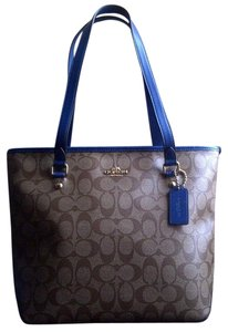 Coach Ocelot/leopard Stylish Rare Mint Condition Tote in Khaki/Light Brown with Mineral Blue Trim