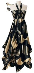 Maxi Dress by The Pyramid Collection Halter Satin Asymmetric Hi Lo