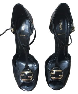 Fendi Peep Toe Heels Black Pumps