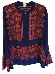 J.Crew Top Blue with red graphic print