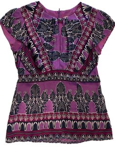 Nanette Lepore Purple Plum Printed Top Multi/Print