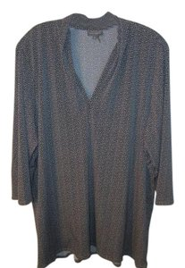 Vince Camuto Plus 3x Tunic Top Taupe and Black Print