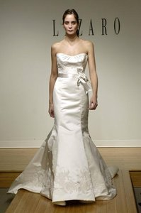 Lazaro Lace 3765 Low Back Silk Duchess Satin Strapless Empire Fit Flare Slim Wedding Dress