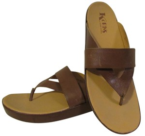 korks Leather Comfortable Brown Tan Sandals