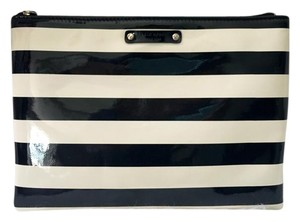 Kate Spade Striped Pouch Wristlet in Black and Ivory