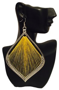 Other New Silver & Yellow Metallic Thread Dangle Earrings