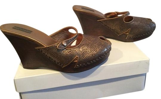 Prada Vintage Embossed Leather Flowers Gold bronze Wedges