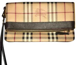 Burberry Wristlet in Brown Black And Red