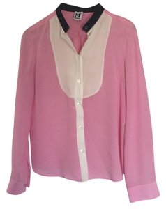 M Missoni Button Down Shirt Pink, white & black accent collar
