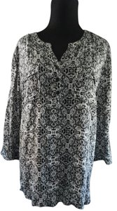 Christopher & Banks Top Black Damask