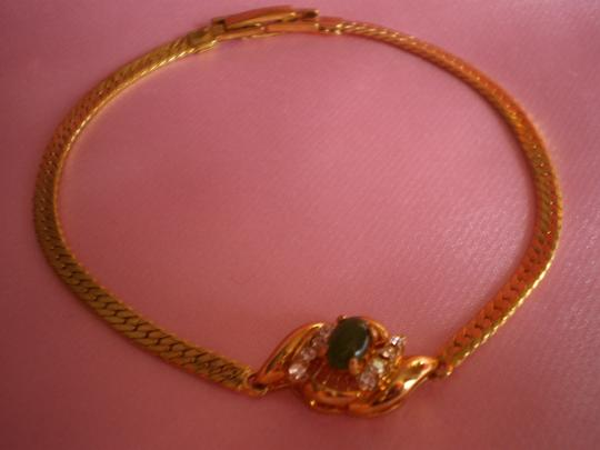 Other New Genuine jade & crystals on gold chain bracelet