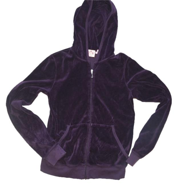 Item - Purple Velour Hoodie Large Activewear Outerwear Size 12 (L, 32, 33)