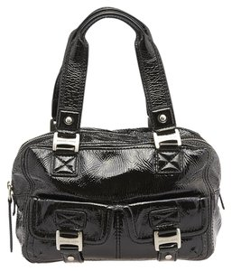Michael Kors Mk Patent Leather Silver Tone Tote in Black