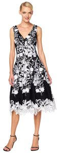 Aidan Mattox Tea Length Embroidered Floral Dress