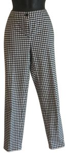 J.McLaughlin J Ankle Length Checked Straight Pants Black and white