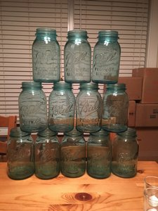 12 Blue Quart Size Mason Jars (no Lids)