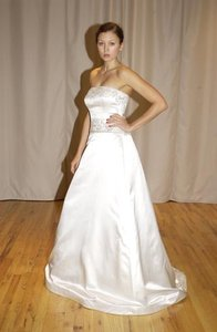 Reem Acra 9778 Beaded Embroidered Aline Strapless Satin Sz 12/14 Wedding Dress
