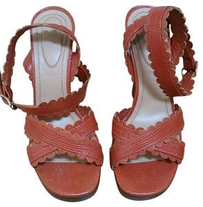 See by Chloé Strappy Wedge Leather Orange Wedges