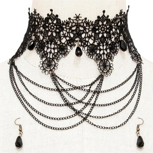 Other Black Lace Gothic Rock Victorian Choker Necklace Earrings