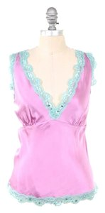 Gold Hawk Silk Charmeuse Deep V Sequin Top Bubblegum Pink