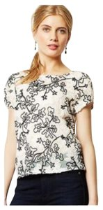 Anthropologie Top White with black detail
