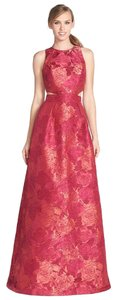 Theia Floral Jacquard Cut-out Ball Gown Gown Dress