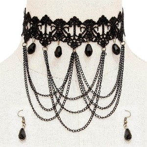 Other Black Lace Gothic Rock Victorian Chain Choker Necklace and Earrings