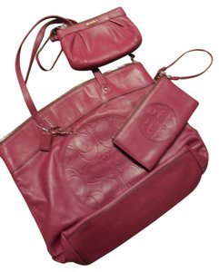 Coach Leather Tote in Berry