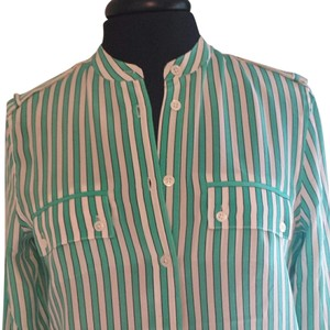 Equipment Striped Silk Top green and white