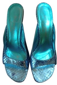 Saint Laurent Turquoise Metallic Mules
