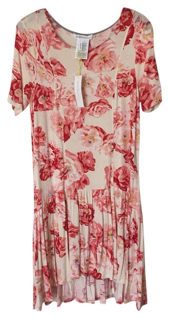 Item - Pink Ivory Red And Floral Mid-length Short Casual Dress Size 8 (M)