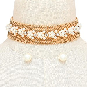 Other Gold Metal Pear Accent Victorian Choker Necklace and Stud Earrings