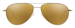 Oliver Peoples New Oliver Peoples Benedict Gold + Gold Mirror Glass Aviator Sunglasses