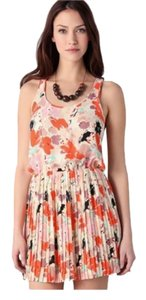 Parker short dress Floral Multi Color Silk Pleated Racer-back on Tradesy