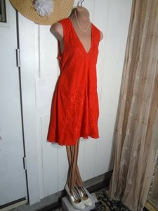 Free People short dress RED SWING SHIFT DRESS Color Loose Flowy To Sell Peek A Boo Back Tie Back Belt on Tradesy