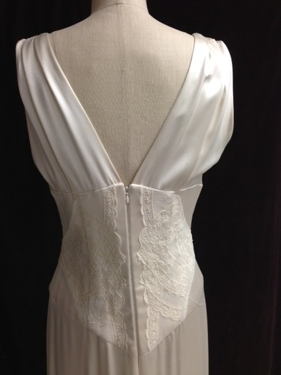 Michelle Rahn Creme Charmuse Lace Deep Front Low Back Empire /8 Art Deco Sexy Dress Size 6 (S)
