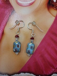 Other ARTISAN Jewelery Earrings Artsy Dangle Blue Red HOOK GIFT BOX NEW 0.925 Sterling Silver