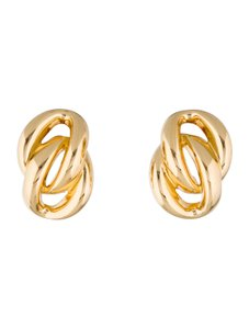 Dior Gold-tone Christian Dior linked earrings with clip-on closures
