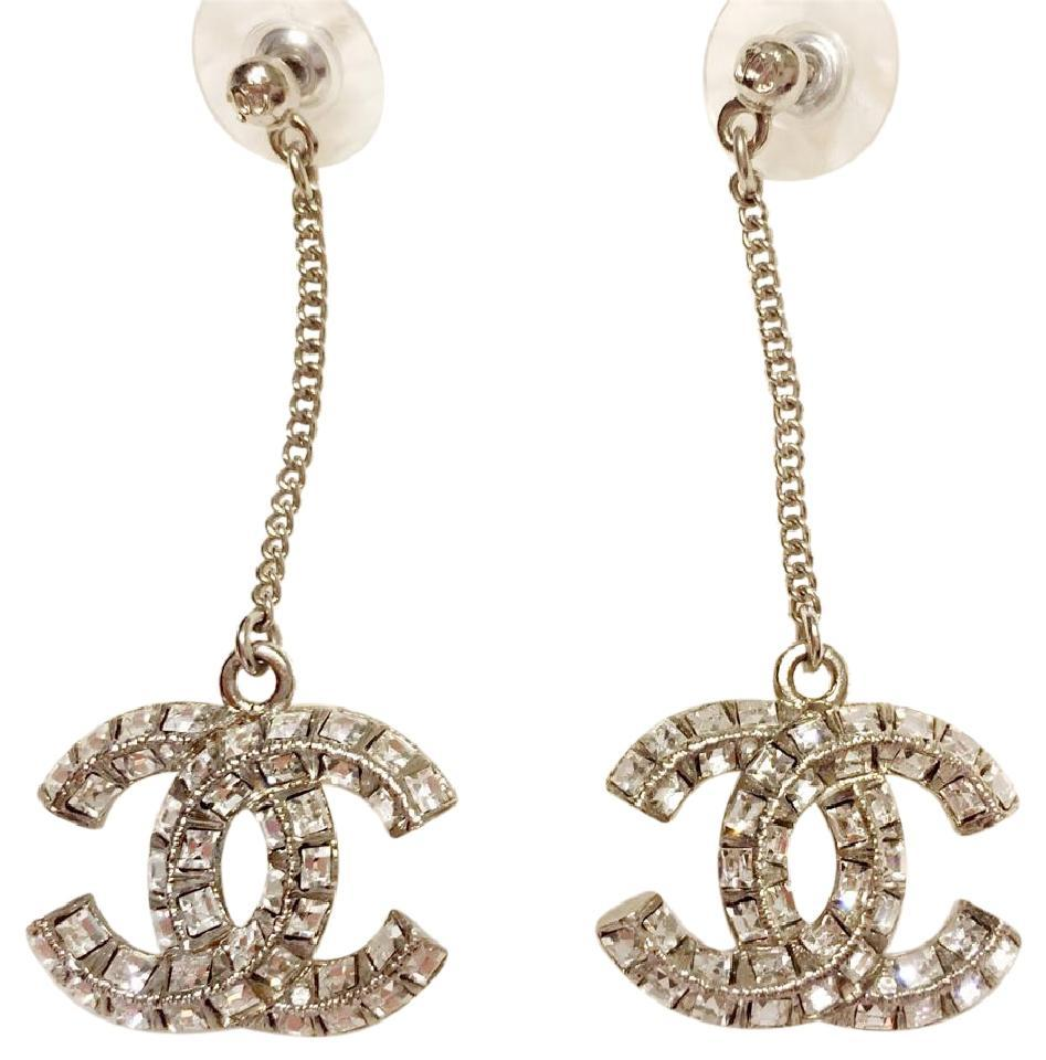 Chanel New Chanel Silver Crystal Cc Logo Dangle Earrings Classic