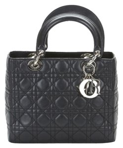 Dior Lady Leather Purse Satchel in Black
