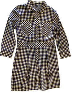 Theory Plaid Waist Defining Office Day Dress