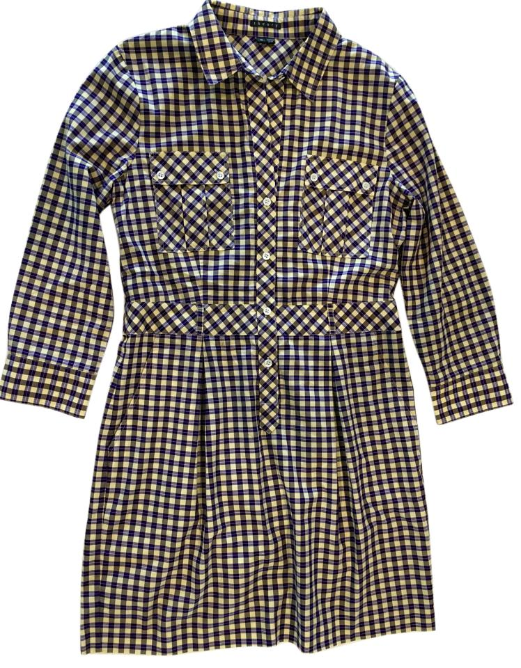 9153f720f0 Theory Multi/Plaid Shirtdress Short Work/Office Dress Size 10 (M ...