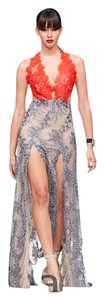 Lisa Nieves Beaded Gown Silver Halter Dress