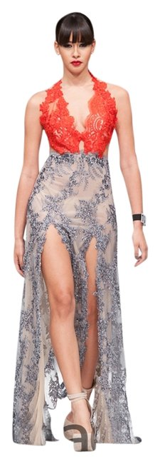 Lisa Nieves Beaded Gown Silver Halter Backless Dress