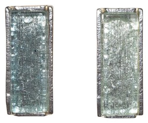Pewter Rectangle Elongated Resin Post Back Retro Earrings